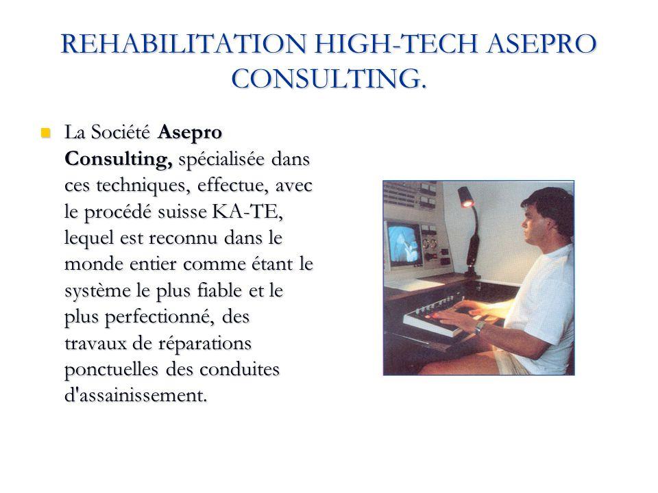 REHABILITATION HIGH-TECH ASEPRO CONSULTING. La Société Asepro Consulting, spécialisée dans ces techniques, effectue, avec le procédé suisse KA-TE, leq