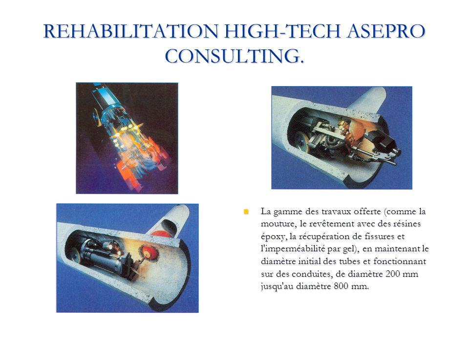 REHABILITATION HIGH-TECH ASEPRO CONSULTING. La gamme des travaux offerte (comme la mouture, le revêtement avec des résines époxy, la récupération de f
