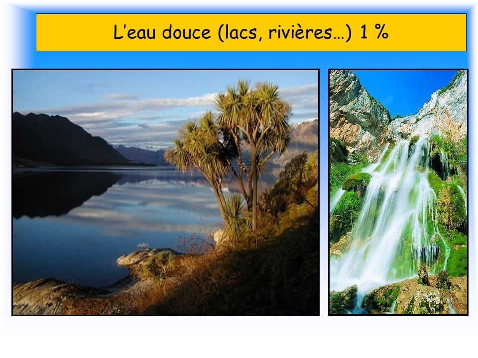 Leau douce (lacs, rivières…) 1 %