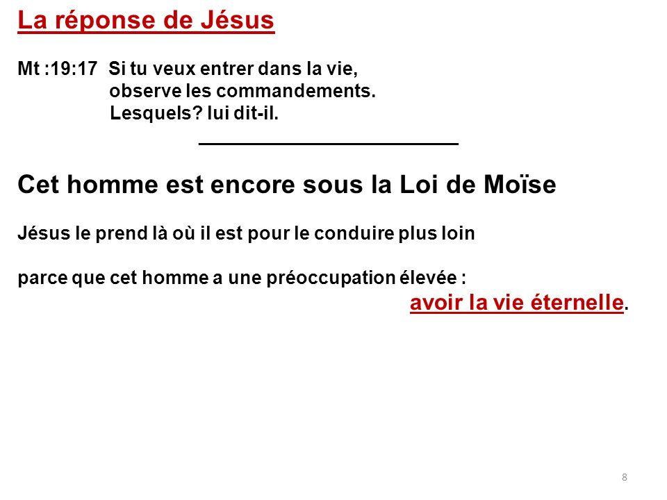 La réponse de Jésus Mt :19:17 Si tu veux entrer dans la vie, observe les commandements. Lesquels? lui dit-il. _________________________ Cet homme est