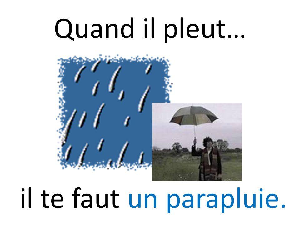 Quand il pleut… il te faut un parapluie.