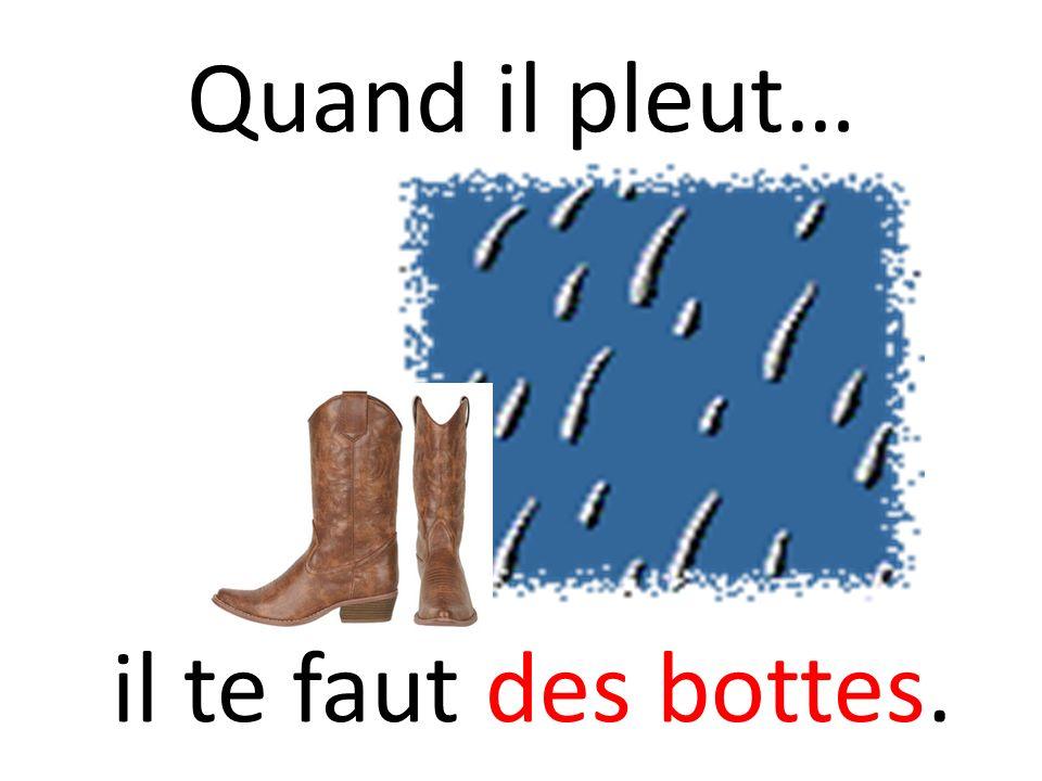 Quand il pleut… il te faut des bottes.