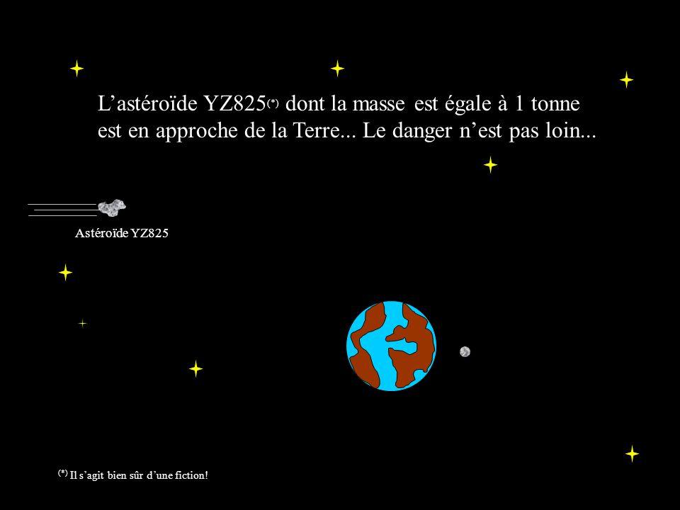 Lastéroïde YZ825 (*) dont la masse est égale à 1 tonne est en approche de la Terre...