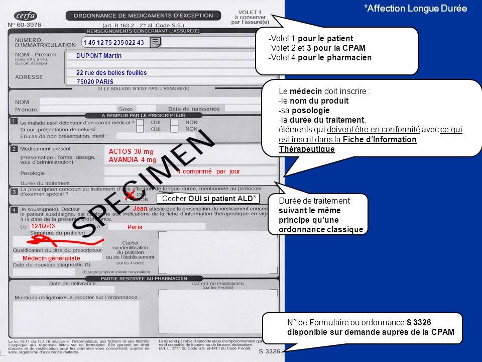 1 45 12 75 235 022 43 DUPONT Martin 22 rue des belles feuilles 75020 PARIS ACTOS 30 mg AVANDIA 4 mg 1 comprimé par jour 12/02/03 Paris Médecin général