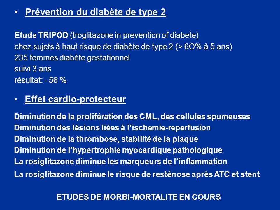 Prévention du diabète de type 2 Etude TRIPOD (troglitazone in prevention of diabete) chez sujets à haut risque de diabète de type 2 (> 6O% à 5 ans) 23