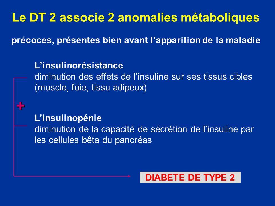 Le DT 2 associe 2 anomalies métaboliques Linsulinorésistance diminution des effets de linsuline sur ses tissus cibles (muscle, foie, tissu adipeux) Li