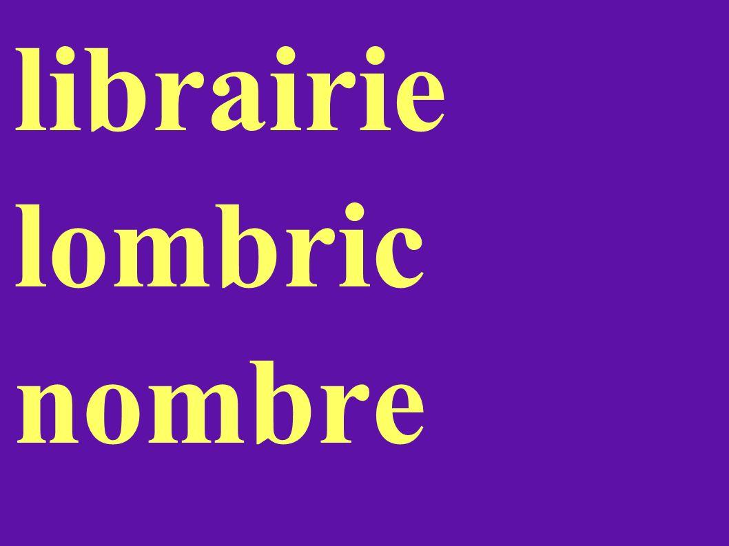 librairie lombric nombre