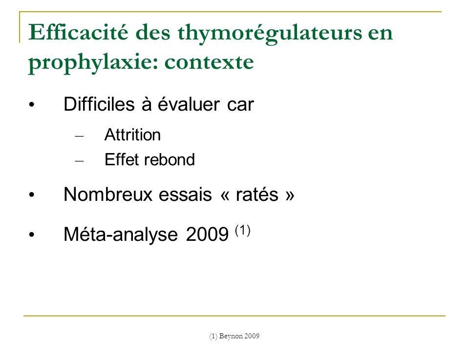 (1) Beynon 2009 Efficacité des thymorégulateurs en prophylaxie: contexte Difficiles à évaluer car – Attrition – Effet rebond Nombreux essais « ratés »
