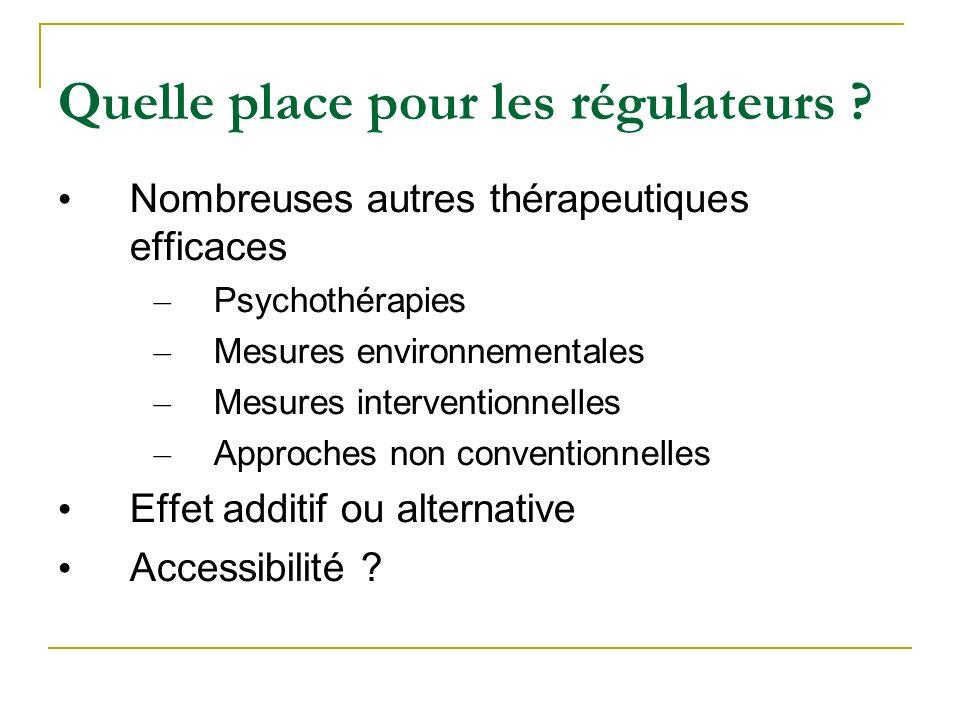 Quelle place pour les régulateurs ? Nombreuses autres thérapeutiques efficaces – Psychothérapies – Mesures environnementales – Mesures interventionnel
