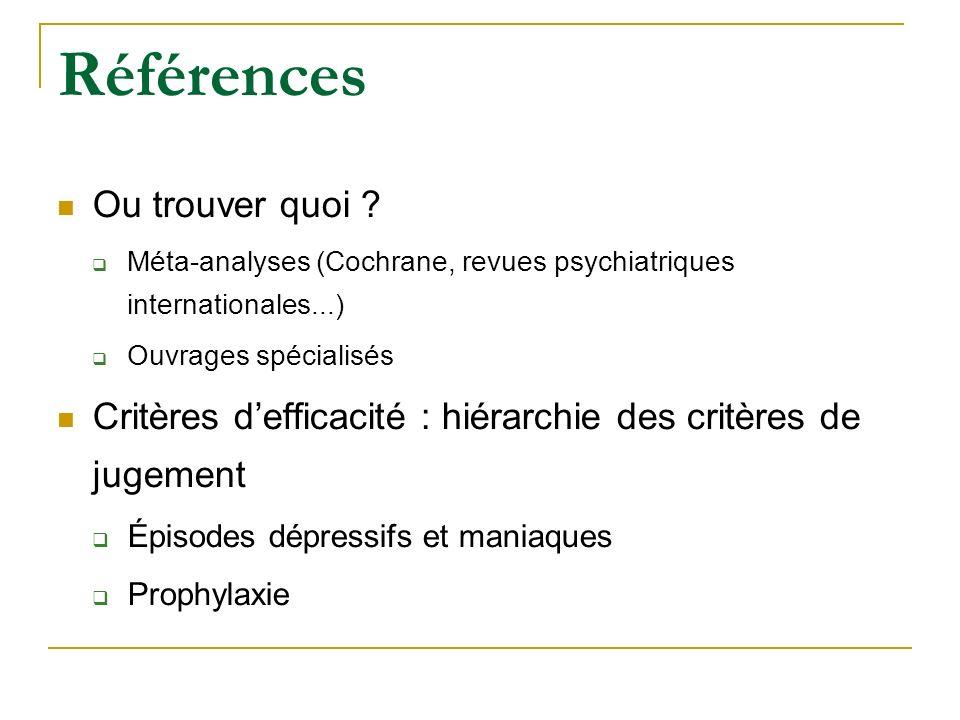 Références Ou trouver quoi ? Méta-analyses (Cochrane, revues psychiatriques internationales...) Ouvrages spécialisés Critères defficacité : hiérarchie