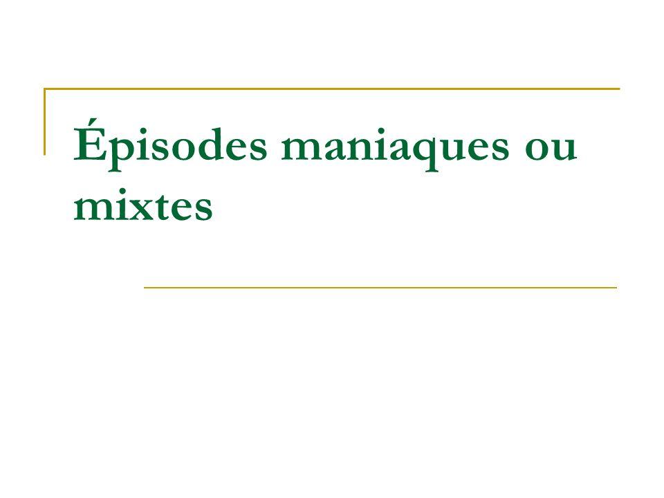 (1) Nasrallah 2006 (2) Perlis 2006 (3) Storosum 2007 Efficacité dans épisodes maniaques ou mixtes Molécule Répondeurs (%) PBO 25 à 40 Li (3) 50 - 60 VLP (1) 55 CBZ / OX (1) 50 - 60 APA / APC (2) 55