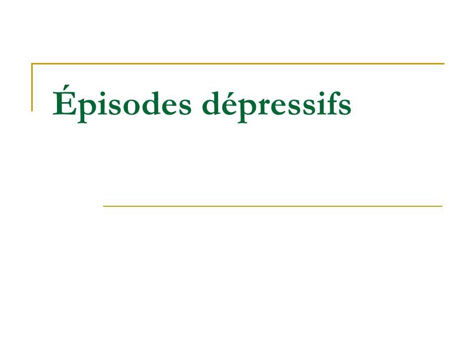 (1) Smith 2010 (2) Young 2010 (3) Geddes 2009 Efficacité des thymorégulateurs dans les épisodes dépressifs Efficacité (%) Commentaires PBO 25 VLP 40 à 45 Méta-analyse récente (1) TE de 0,3 Li 35 à 70 Études anciennes La plus récente négative (2) La 30 à 45 TE de 0,15 (3) Efficacité augmente avec sévérité APA Variable Quetiapine, OFC : oui Aripiprazole : non