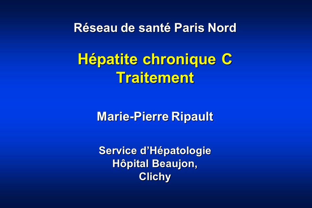 Type de réponses Réponse prolongée (RVP) –ARN VHC indétectable 6 mois après larrêt du traitement (guérison) Rechute (RR) –ARN VHC indétectable en fin de traitement et détectable après larrêt du traitement Non-réponse (NR) –ARN VHC détectable en fin de traitement