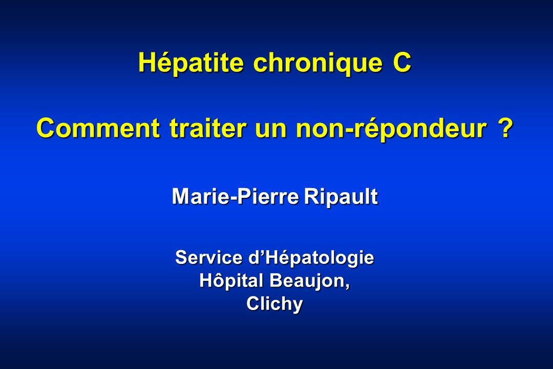 Hépatite chronique C Comment traiter un non-répondeur ? Marie-Pierre Ripault Service dHépatologie Hôpital Beaujon, Clichy