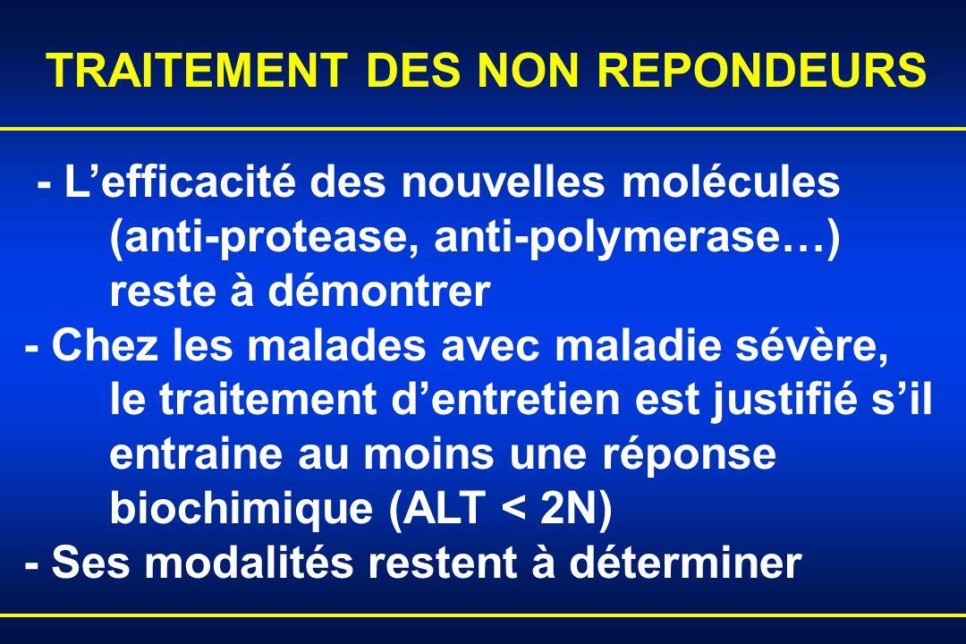 - Lefficacité des nouvelles molécules (anti-protease, anti-polymerase…) reste à démontrer - Chez les malades avec maladie sévère, le traitement dentre