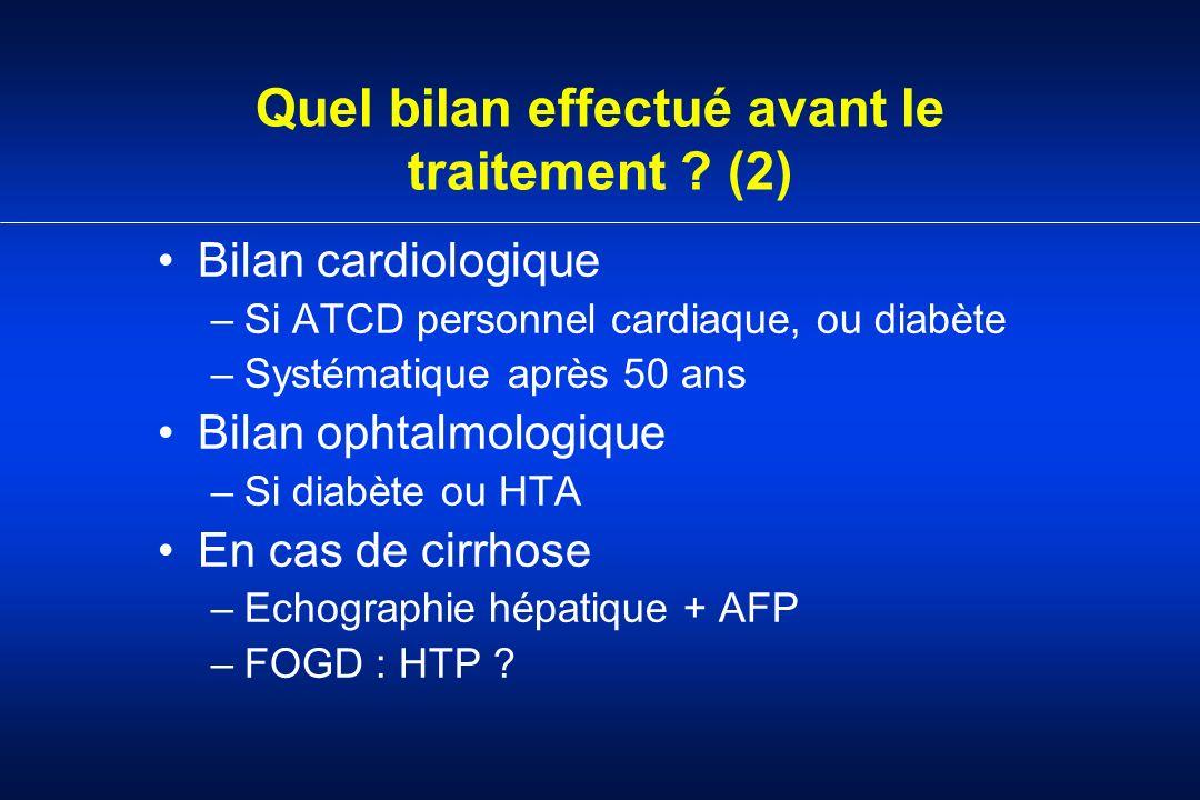 Quel bilan effectué avant le traitement ? (2) Bilan cardiologique –Si ATCD personnel cardiaque, ou diabète –Systématique après 50 ans Bilan ophtalmolo