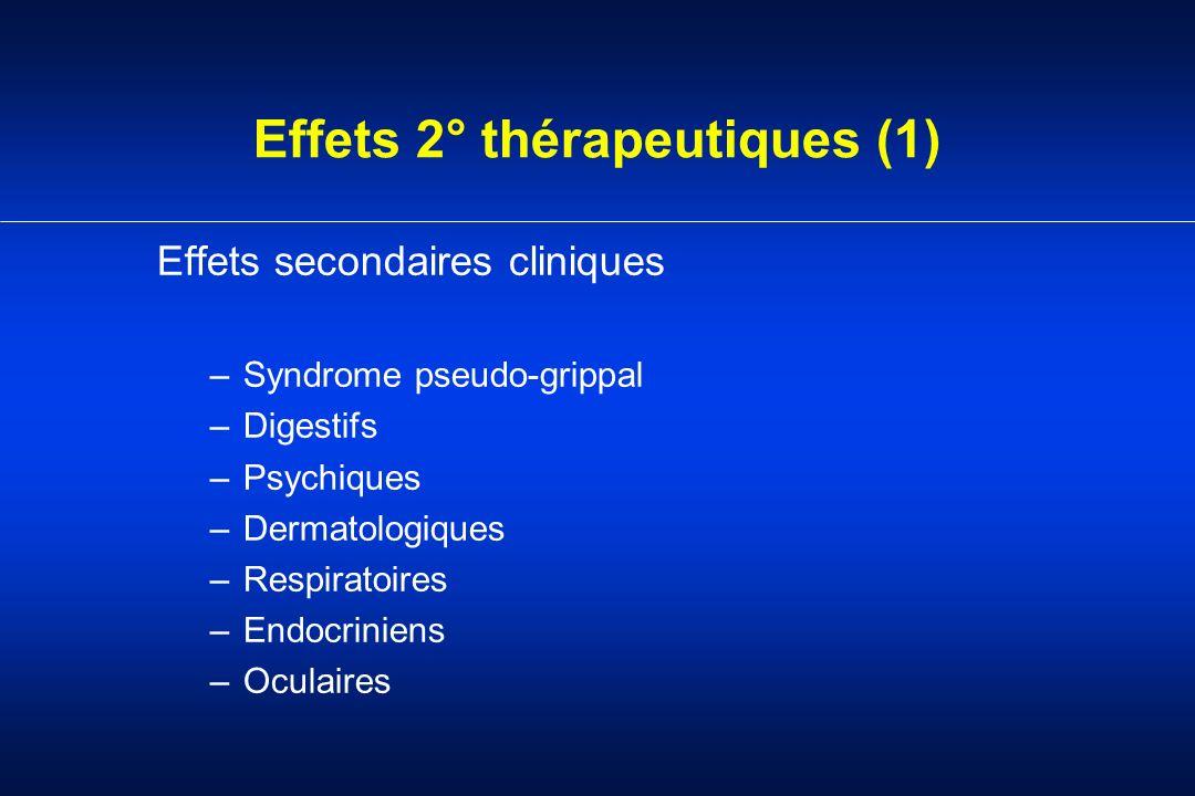 Effets 2° thérapeutiques (1) Effets secondaires cliniques –Syndrome pseudo-grippal –Digestifs –Psychiques –Dermatologiques –Respiratoires –Endocrinien