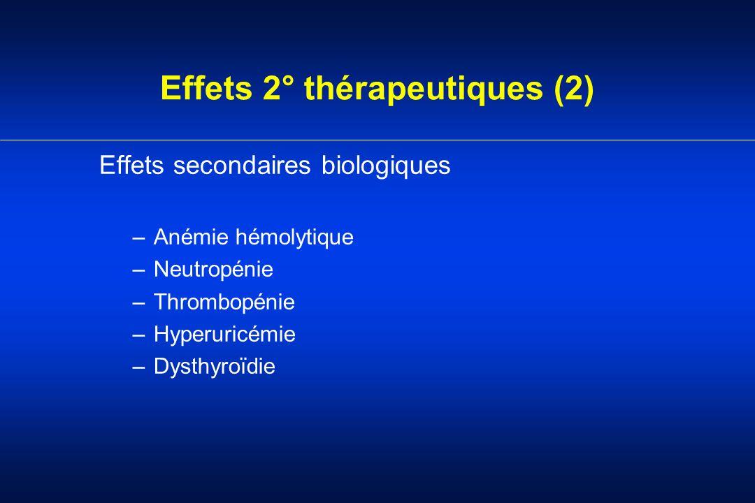 Effets 2° thérapeutiques (2) Effets secondaires biologiques –Anémie hémolytique –Neutropénie –Thrombopénie –Hyperuricémie –Dysthyroïdie