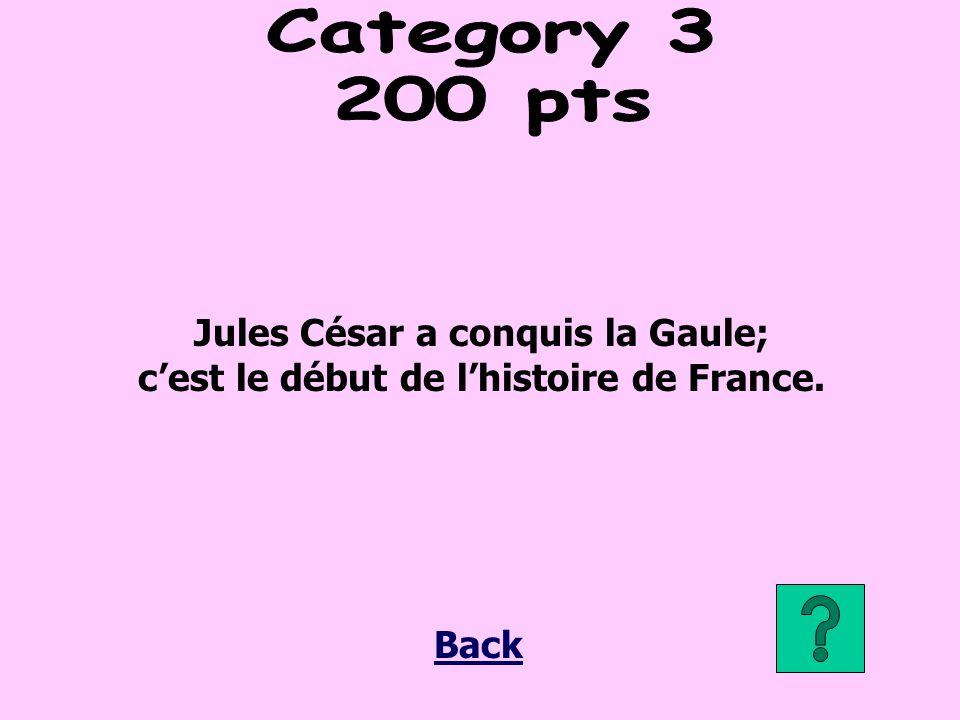 Jules César a conquis la Gaule; cest le début de lhistoire de France. Back