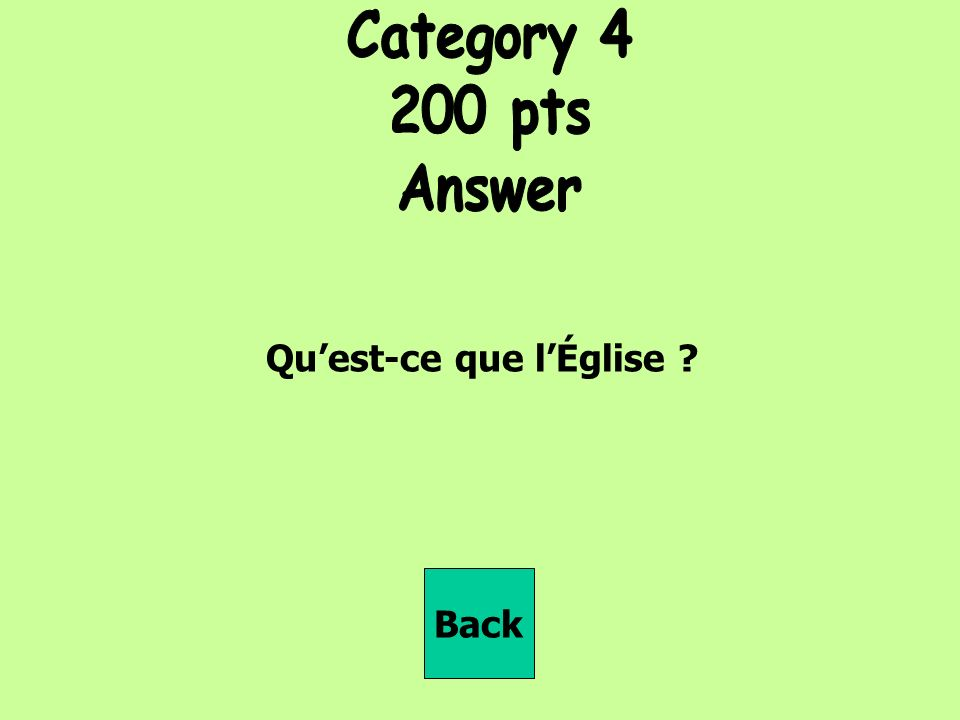 Quest-ce que lÉglise Back