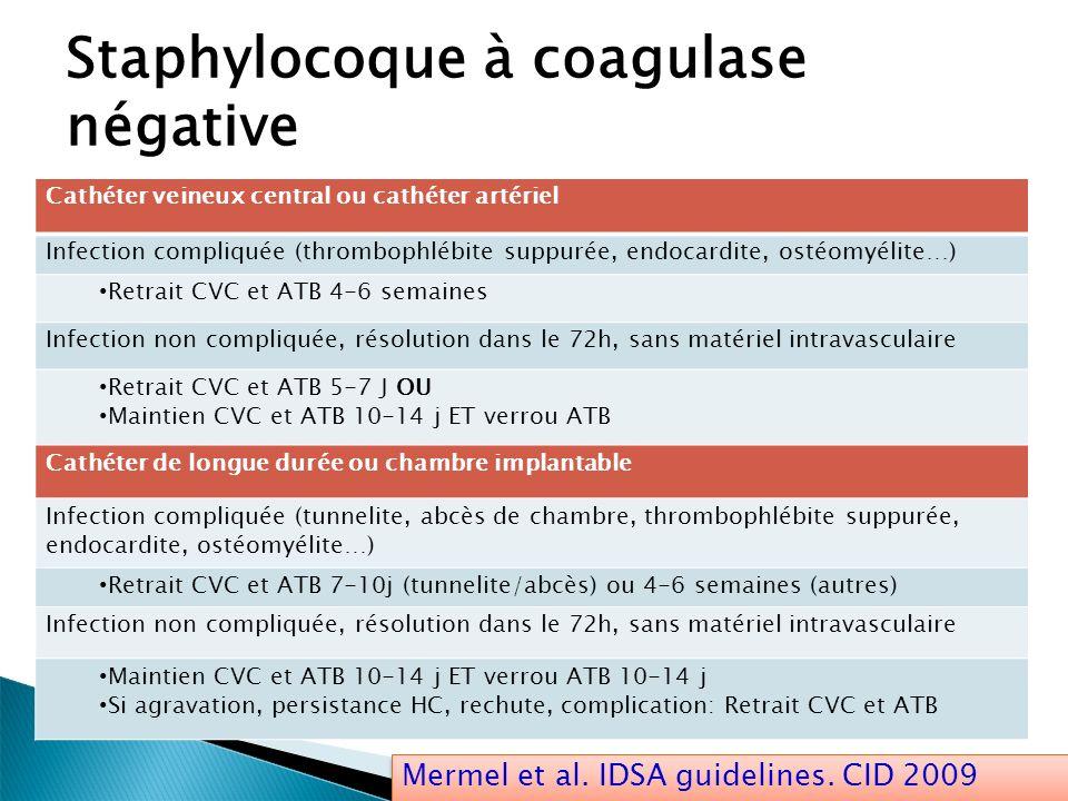 Staphylocoque à coagulase négative Cathéter veineux central ou cathéter artériel Infection compliquée (thrombophlébite suppurée, endocardite, ostéomyé