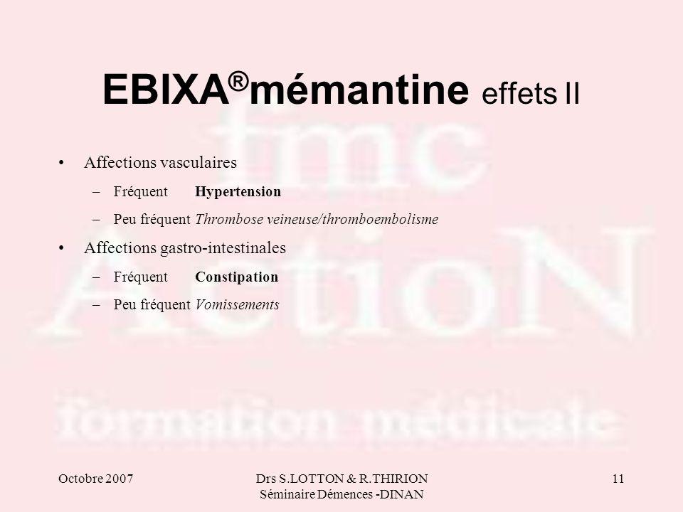 Octobre 2007Drs S.LOTTON & R.THIRION Séminaire Démences -DINAN 11 EBIXA ® mémantine effets II Affections vasculaires –FréquentHypertension –Peu fréque