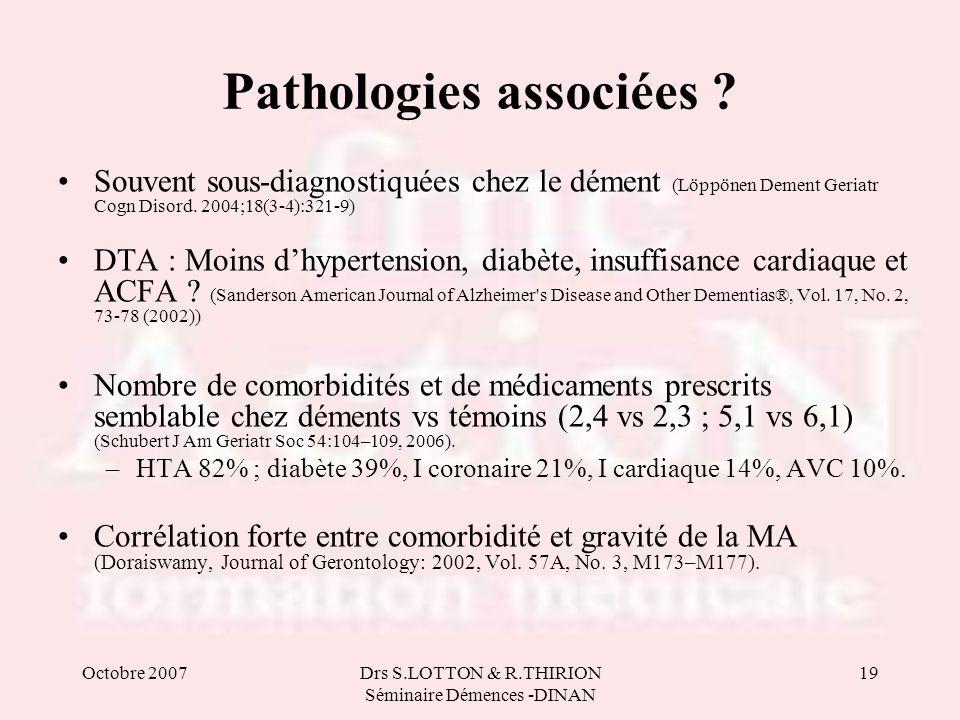 Octobre 2007Drs S.LOTTON & R.THIRION Séminaire Démences -DINAN 19 Pathologies associées ? Souvent sous-diagnostiquées chez le dément (Löppönen Dement