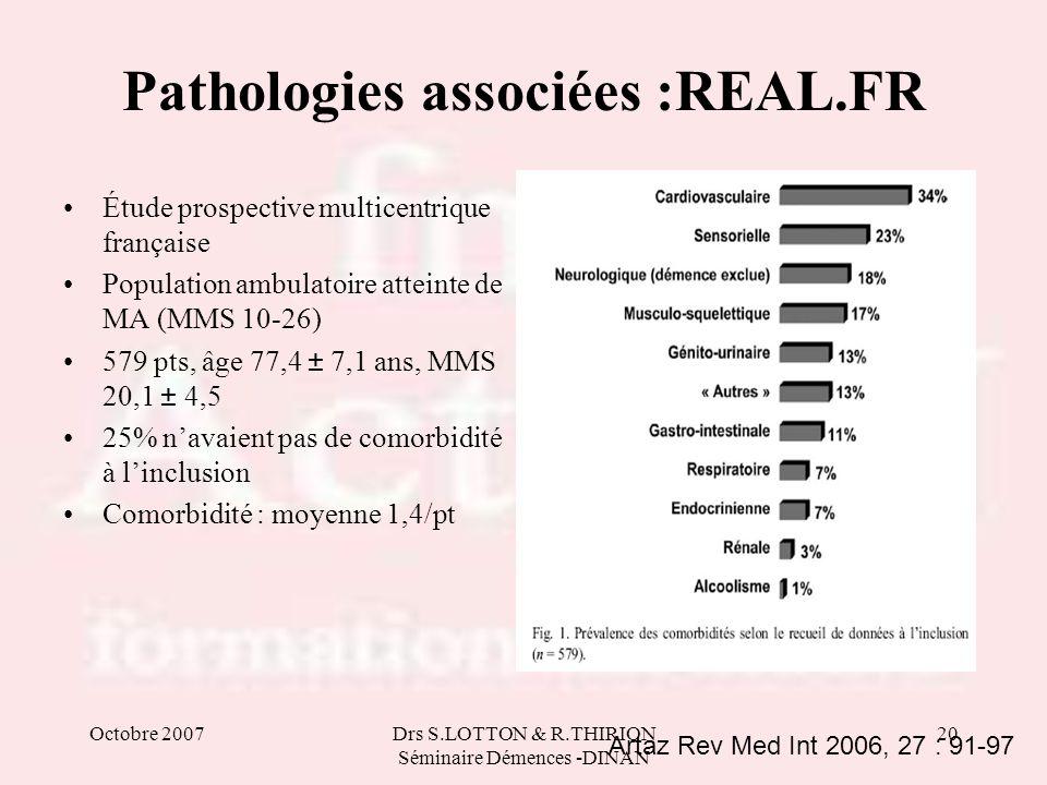 Octobre 2007Drs S.LOTTON & R.THIRION Séminaire Démences -DINAN 20 Pathologies associées :REAL.FR Étude prospective multicentrique française Population