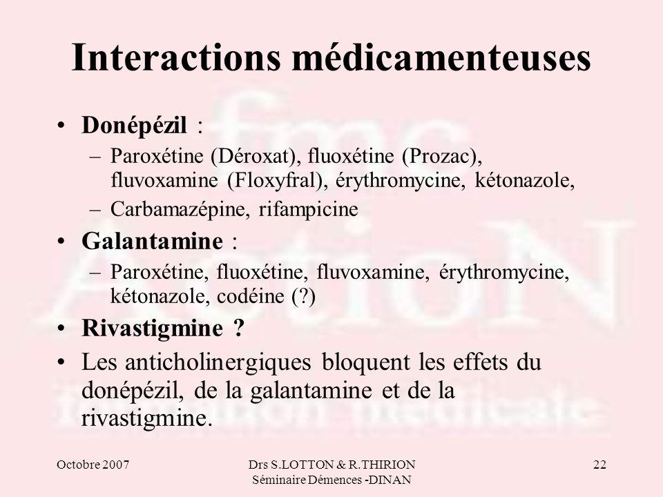Octobre 2007Drs S.LOTTON & R.THIRION Séminaire Démences -DINAN 22 Interactions médicamenteuses Donépézil : –Paroxétine (Déroxat), fluoxétine (Prozac),