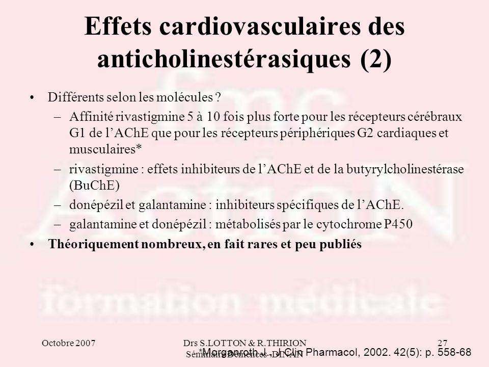 Octobre 2007Drs S.LOTTON & R.THIRION Séminaire Démences -DINAN 27 Effets cardiovasculaires des anticholinestérasiques (2) Différents selon les molécul