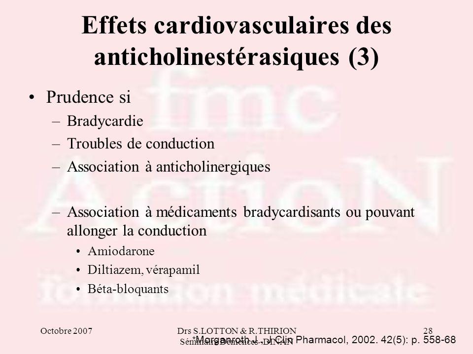 Octobre 2007Drs S.LOTTON & R.THIRION Séminaire Démences -DINAN 28 Effets cardiovasculaires des anticholinestérasiques (3) Prudence si –Bradycardie –Tr