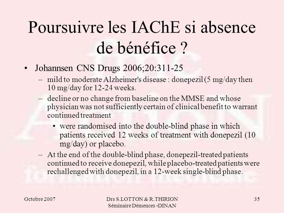 Octobre 2007Drs S.LOTTON & R.THIRION Séminaire Démences -DINAN 35 Poursuivre les IAChE si absence de bénéfice ? Johannsen CNS Drugs 2006;20:311-25 –mi