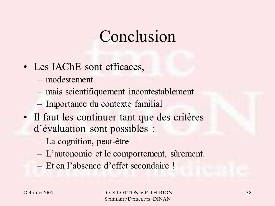 Octobre 2007Drs S.LOTTON & R.THIRION Séminaire Démences -DINAN 38 Conclusion Les IAChE sont efficaces, –modestement –mais scientifiquement incontestab