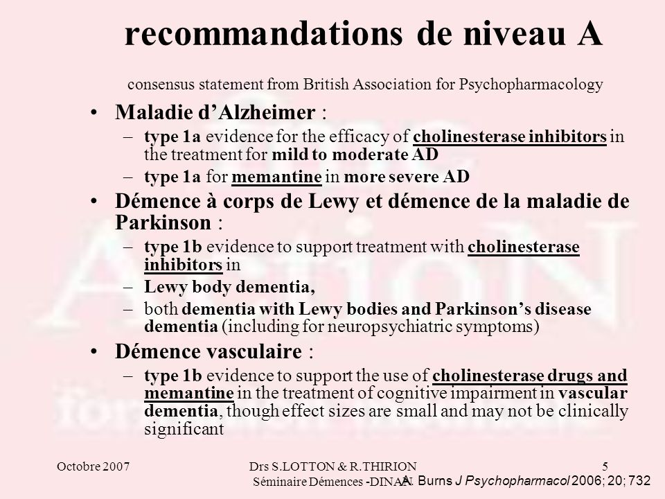 Octobre 2007Drs S.LOTTON & R.THIRION Séminaire Démences -DINAN 5 recommandations de niveau A consensus statement from British Association for Psychoph