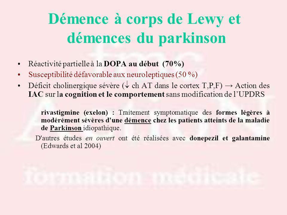 Réactivité partielle à la DOPA au début (70%) Susceptibilité défavorable aux neuroleptiques (50 %) Déficit cholinergique sévère ( ch AT dans le cortex T,P,F) Action des IAC sur la cognition et le comportement sans modification de lUPDRS rivastigmine (exelon) : Traitement symptomatique des formes légères à modérément sévères d une démence chez les patients atteints de la maladie de Parkinson idiopathique.