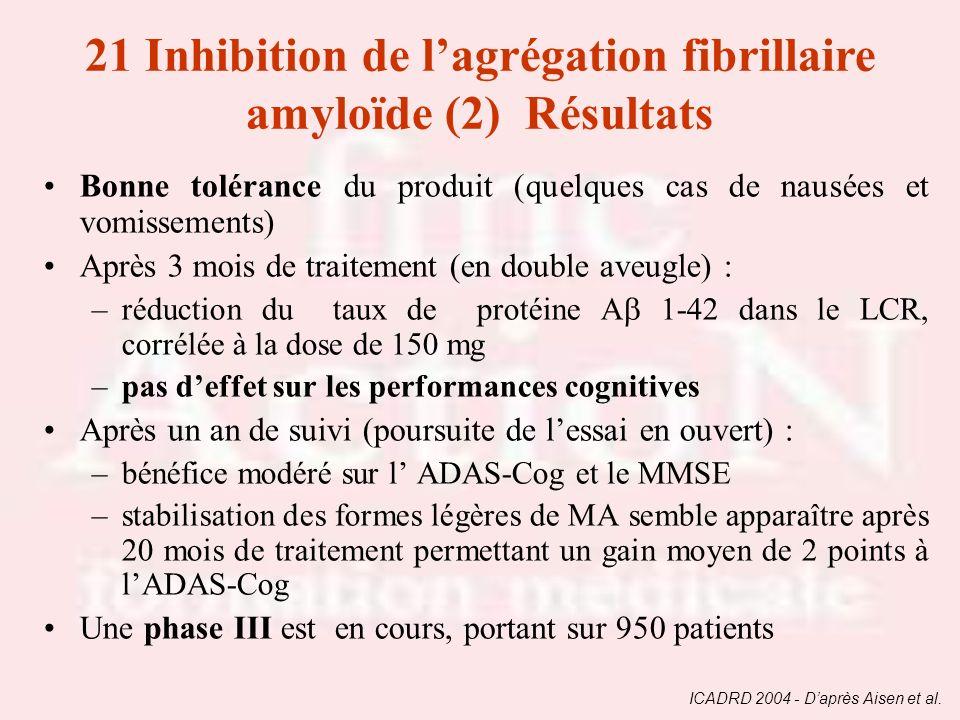 Bonne tolérance du produit (quelques cas de nausées et vomissements) Après 3 mois de traitement (en double aveugle) : –réduction du taux de protéine A