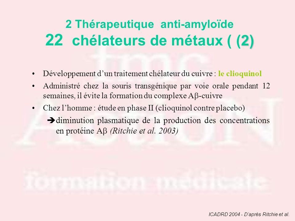 Développement dun traitement chélateur du cuivre : le clioquinol Administré chez la souris transgénique par voie orale pendant 12 semaines, il évite l