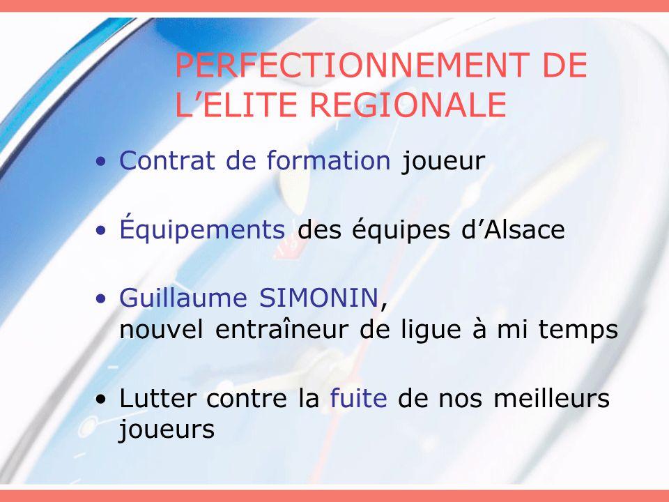 PERFECTIONNEMENT DE LELITE REGIONALE Contrat de formation joueur Équipements des équipes dAlsace Guillaume SIMONIN, nouvel entraîneur de ligue à mi te