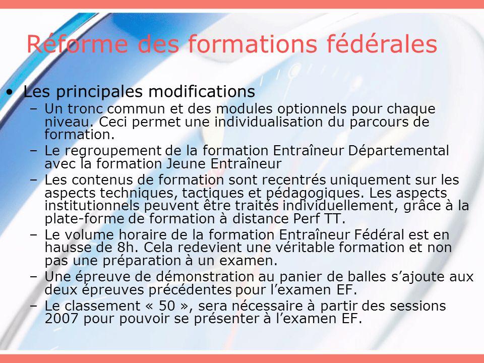 Réforme des formations fédérales Les principales modifications –Un tronc commun et des modules optionnels pour chaque niveau. Ceci permet une individu