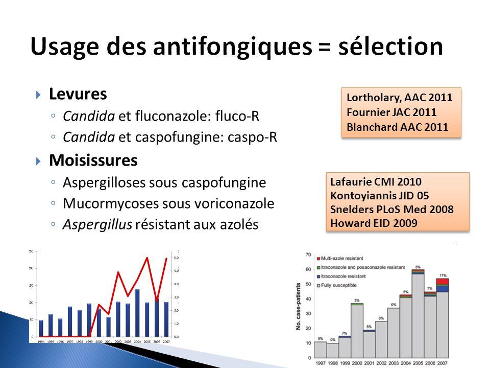 Levures Candida et fluconazole: fluco-R Candida et caspofungine: caspo-R Moisissures Aspergilloses sous caspofungine Mucormycoses sous voriconazole As