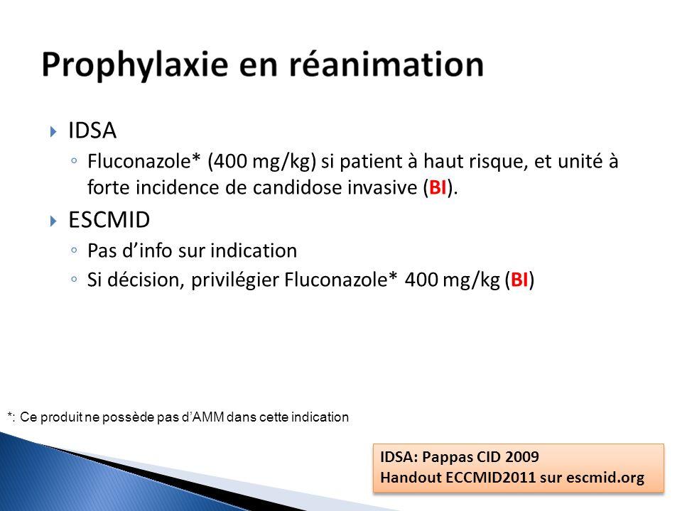 IDSA Fluconazole* (400 mg/kg) si patient à haut risque, et unité à forte incidence de candidose invasive (BI). ESCMID Pas dinfo sur indication Si déci