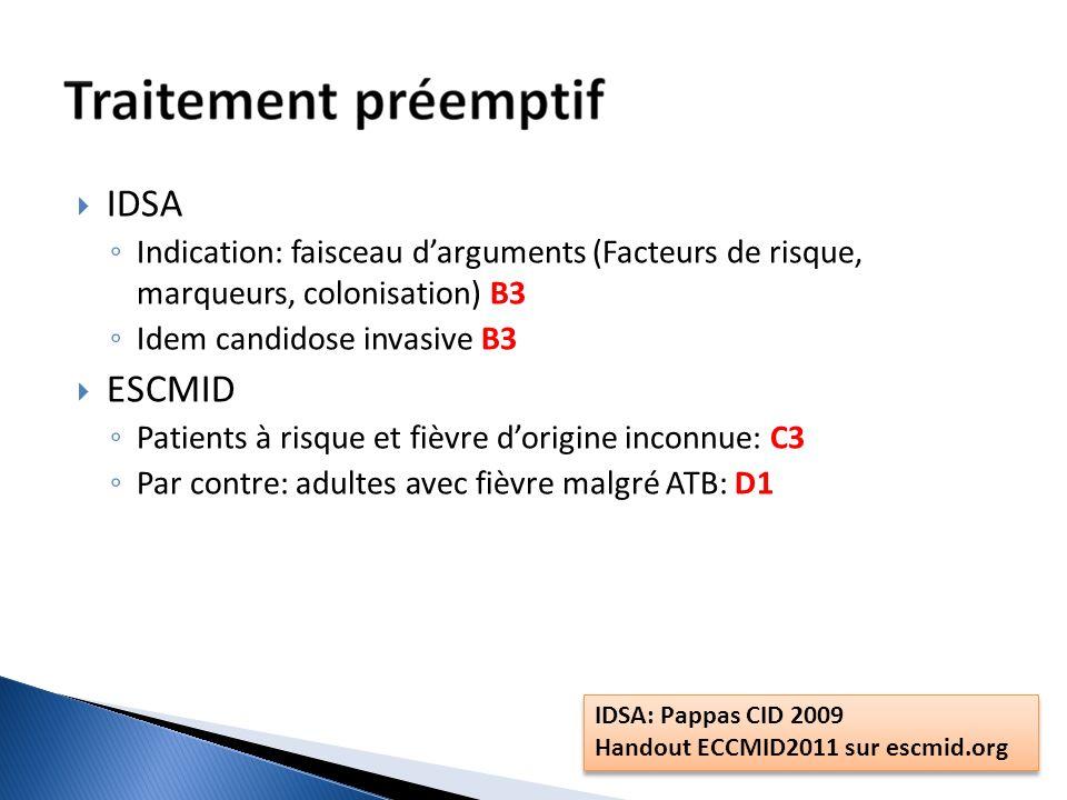 IDSA Indication: faisceau darguments (Facteurs de risque, marqueurs, colonisation) B3 Idem candidose invasive B3 ESCMID Patients à risque et fièvre do