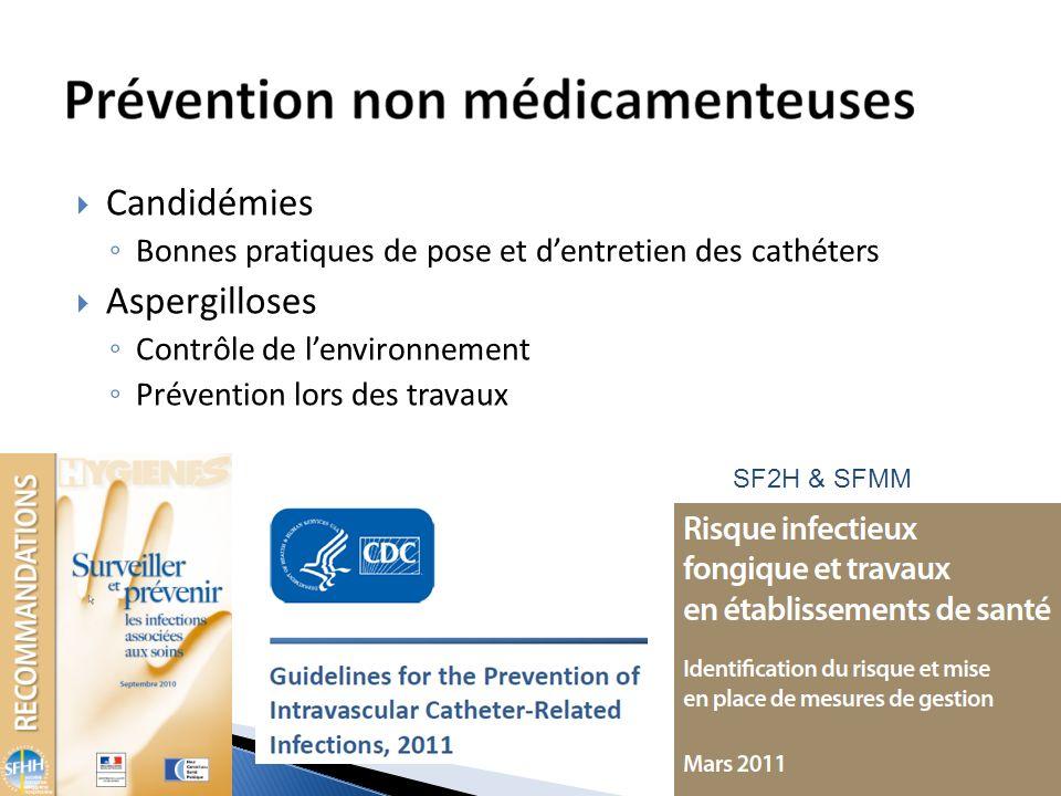 Candidémies Bonnes pratiques de pose et dentretien des cathéters Aspergilloses Contrôle de lenvironnement Prévention lors des travaux SF2H & SFMM