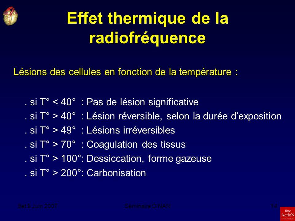 8et 9 Juin 2007Séminaire DINAN14 Effet thermique de la radiofréquence.