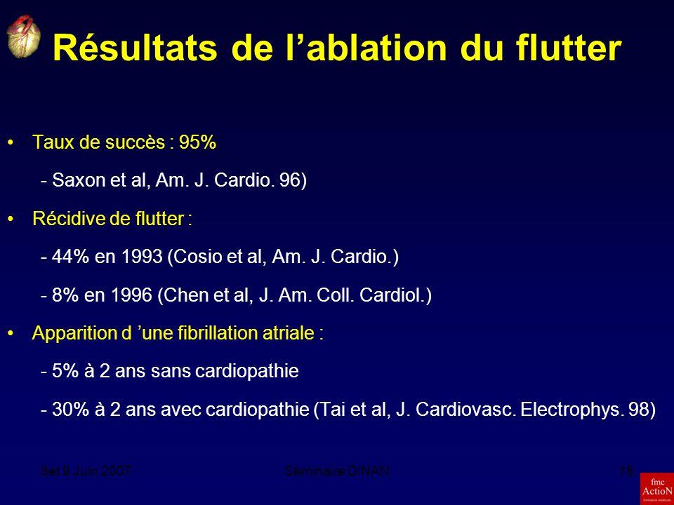 8et 9 Juin 2007Séminaire DINAN18 Résultats de lablation du flutter Taux de succès : 95% - Saxon et al, Am.