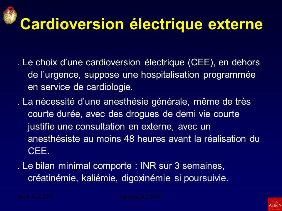 8et 9 Juin 2007Séminaire DINAN2 Cardioversion électrique externe.