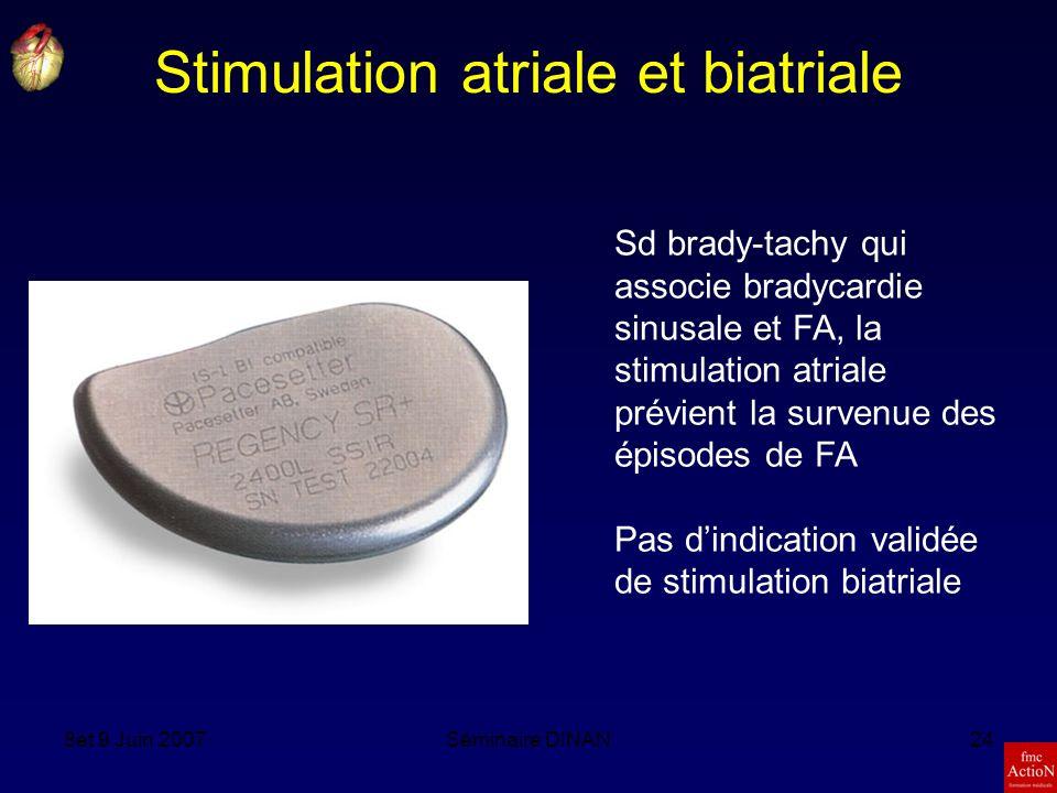 8et 9 Juin 2007Séminaire DINAN24 Stimulation atriale et biatriale Sd brady-tachy qui associe bradycardie sinusale et FA, la stimulation atriale prévient la survenue des épisodes de FA Pas dindication validée de stimulation biatriale