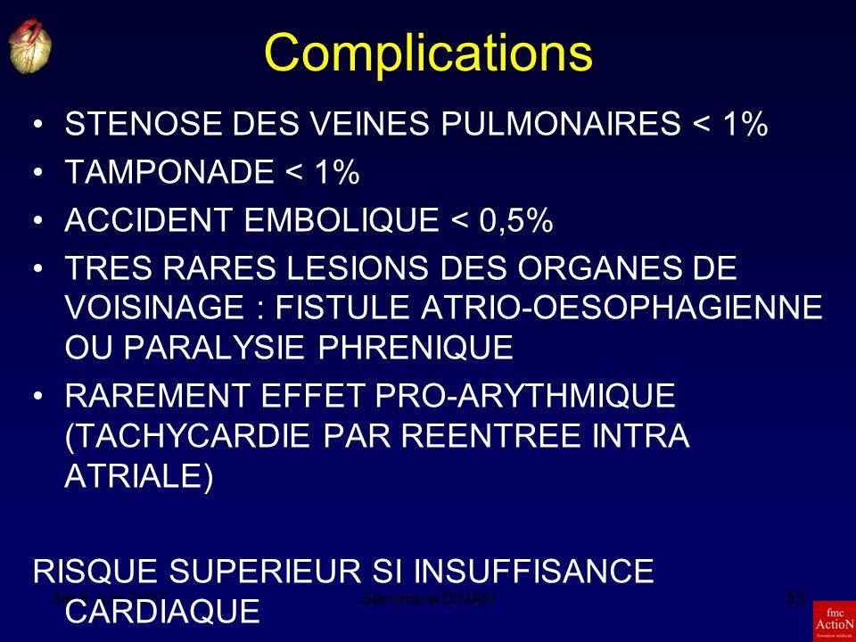 8et 9 Juin 2007Séminaire DINAN33 Complications STENOSE DES VEINES PULMONAIRES < 1% TAMPONADE < 1% ACCIDENT EMBOLIQUE < 0,5% TRES RARES LESIONS DES ORGANES DE VOISINAGE : FISTULE ATRIO-OESOPHAGIENNE OU PARALYSIE PHRENIQUE RAREMENT EFFET PRO-ARYTHMIQUE (TACHYCARDIE PAR REENTREE INTRA ATRIALE) RISQUE SUPERIEUR SI INSUFFISANCE CARDIAQUE