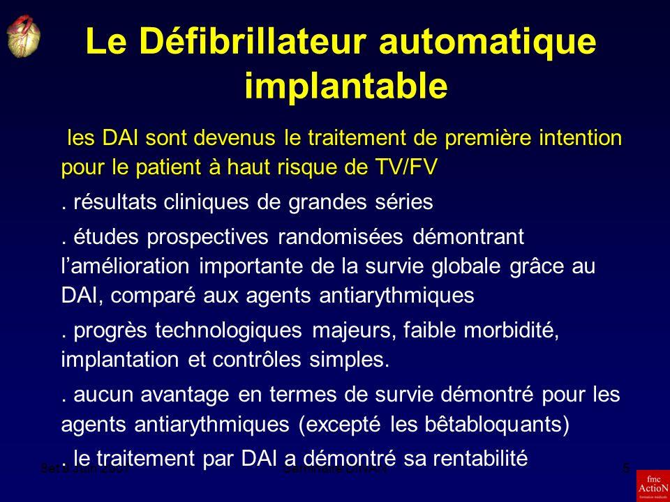 8et 9 Juin 2007Séminaire DINAN5 les DAI sont devenus le traitement de première intention pour le patient à haut risque de TV/FV.