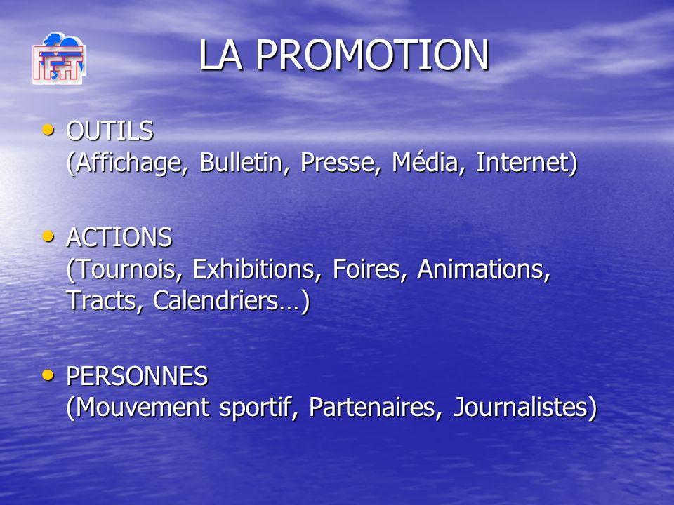 OUTILS (Affichage, Bulletin, Presse, Média, Internet) OUTILS (Affichage, Bulletin, Presse, Média, Internet) ACTIONS (Tournois, Exhibitions, Foires, Animations, Tracts, Calendriers…) ACTIONS (Tournois, Exhibitions, Foires, Animations, Tracts, Calendriers…) PERSONNES (Mouvement sportif, Partenaires, Journalistes) PERSONNES (Mouvement sportif, Partenaires, Journalistes) LA PROMOTION